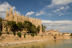 Cathedral La Seu. In Palma de Mallorca facing Parc de la Mar Stock Photos