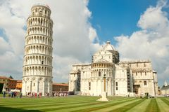 The Cathedral and the Leaning Tower in the city of Pisa, Italy Royalty Free Stock Image