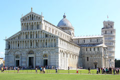 Cathedral and leaning tower in Pisa, Italy. At this picture the restoration of the Leaning Tower of Pisa has just finished. The Torre pendente di Pisa is the Royalty Free Stock Photo