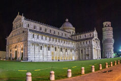 Cathedral and leaning tower of Pisa in Italy. At night Royalty Free Stock Images