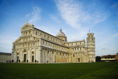 The Cathedral and The Leaning Tower of Pisa at the Miracle Square Italy Stock Photography