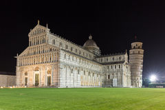 Cathedral and leaning tower of Pisa at night Royalty Free Stock Photography