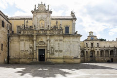 Cathedral, Lecce. Cathedral of Lecce,  decorated with baroque portal Stock Image