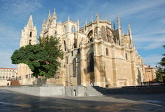 Cathedral in Leon. (Spain) at daylight from backside stock photography