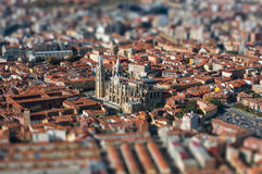 Cathedral of Leon. Aerial image of the city of Leon in Spain Stock Photography