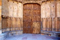 Cathedral of Leon carved door in Castilla Spain Royalty Free Stock Photos