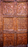 Cathedral of Leon carved door in Castilla Spain Stock Image