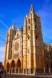 Cathedral of Leon in Castilla at Spain Royalty Free Stock Photography