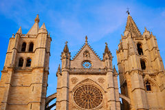 Cathedral of Leon in Castilla at Spain Stock Image