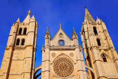 Cathedral of Leon in Castilla at Spain Royalty Free Stock Images