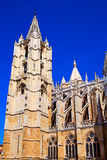 Cathedral of Leon in Castilla at Spain Stock Photo