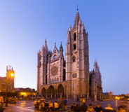 Cathedral of Leon in evening Royalty Free Stock Photography