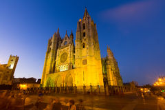 Cathedral of Leon in evening  time Royalty Free Stock Photo