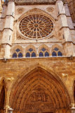 Cathedral of Leon gothic Rosette in Castilla Royalty Free Stock Images