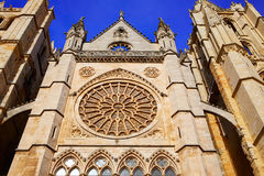 Cathedral of Leon gothic Rosette in Castilla Royalty Free Stock Photography