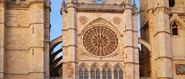 Cathedral of Leon gothic rosette in Castilla Royalty Free Stock Photos
