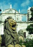 Cathedral of Leon Nicaragua lion statue in fountain. Central America Royalty Free Stock Photo