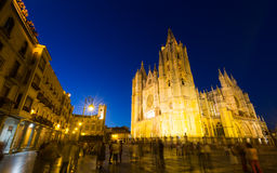 Cathedral of Leon in night. Royalty Free Stock Image