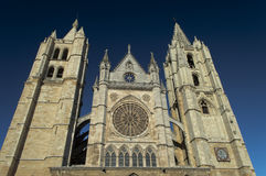 Cathedral of Leon, Spain. Facade of Gothic cathedral of Leon, Castilla Leon, Spain royalty free stock photo