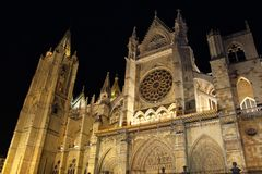 Cathedral of Leon, Spain. Facade of Gothic cathedral of Leon, Castilla Leon, Spain. Leon Cathedral, one of the great works of the Gothic style with French Royalty Free Stock Image