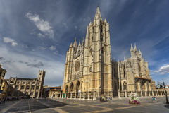 Cathedral in Leon. LEON, SPAIN - OCTOBER 7, 2011: Square Plaza Regla with magnificent gothic cathedral of Leon stock images