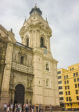 Cathedral of Lima Facade Low Angle View Royalty Free Stock Image