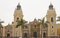 Cathedral of Lima at main square. Stock Images