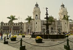 Cathedral of Lima and Plaza Mayor Royalty Free Stock Photography