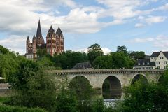 Cathedral in Limburg with Brücke an der Lahn in Hesse, Germany. Cathedral Limburg with Brücke an der Lahn in Hesse, Germany royalty free stock photo