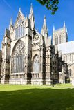 Cathedral of Lincoln, East Midlands, England. Outdoors, outside, exteriors, europe, western, great, britain, united, kingdom, uk, lincolnshire, architecture royalty free stock images