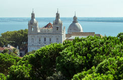 Cathedral of Lisboa. White cathedral of Lisboa on the gulf shore Royalty Free Stock Photos