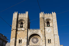 The Cathedral of Lisbon at sunset Stock Images