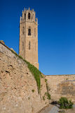 Cathedral of Lleida main clock tower Stock Photo