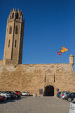 Cathedral of Lleida main clock tower Royalty Free Stock Image