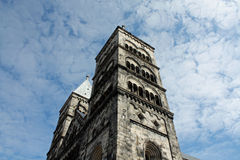 The cathedral in Lund, Sweden. Seen from below, surrounded by the sky royalty free stock photo