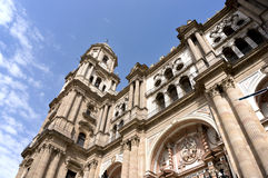 Cathedral of Málaga Spain. Front view of Cathedral of Málaga in Malaga, Spain Royalty Free Stock Image