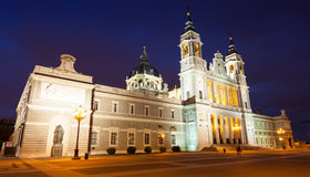 Cathedral at Madrid in night Royalty Free Stock Photo