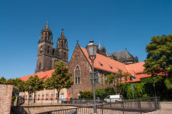 Cathedral of Magdeburg at river Elbe, Germany Royalty Free Stock Image