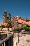 Cathedral of Magdeburg at river Elbe, Germany Royalty Free Stock Images