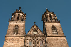 Cathedral of Magdeburg at river Elbe, Germany Stock Images