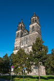 Cathedral of Magdeburg at river Elbe, Germany Stock Image