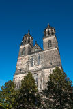 Cathedral of Magdeburg at river Elbe, Germany Stock Photography