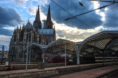 Cathedral and Main Railway station in Cologne Royalty Free Stock Photography