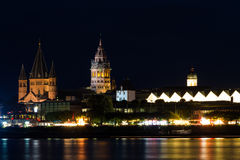 Cathedral of Mainz at night Stock Images