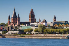 Cathedral of Mainz at the rhine river Stock Photos