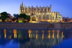 Cathedral of Majorca in Palma de Mallorca. Cathedral of la Seu Majorca in Palma de Mallorca reflection over lake at Balearic islands Royalty Free Stock Photo