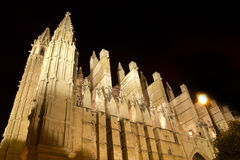 Cathedral of Majorca in Palma de Mallorca night Royalty Free Stock Images