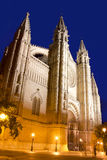 Cathedral of Majorca in Palma de Mallorca night Stock Image