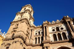Malaga city, cathedral view, spain. Cathedral of malaga city in spain. Church architecture details. famous Landmark of malaga royalty free stock image