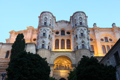 Cathedral of Malaga at dusk Stock Photography